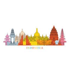 indonesia architecture landmarks skyline vector image vector image