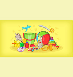 kids toys horizontal banner cartoon style vector image
