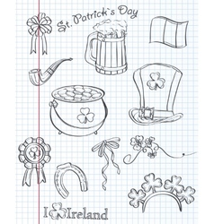 Set of different items for St Patricks Day Black vector image vector image