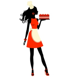 Silhouette baker vector image vector image
