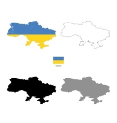 Ukraine country black silhouette and with flag on vector image vector image