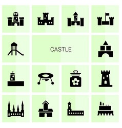 14 castle icons vector