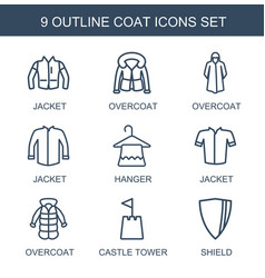 9 coat icons vector image