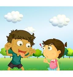 A boy annoying little girl vector