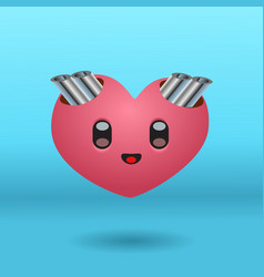 a cute heart character with exhaust pipes vector image