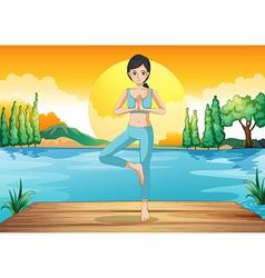A girl doing yoga outdoor vector