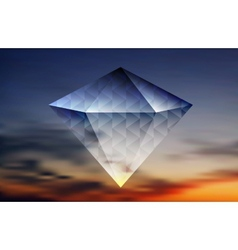 Abstract shiny diamond on the sky background vector