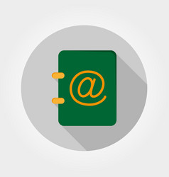 Address book icon flat vector