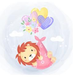 Adorable lion for children vector