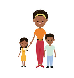 Afro american mother together children smiling vector