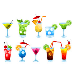 alcohol cocktails icon set vector image