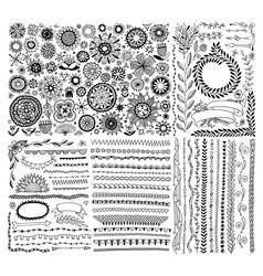 Big set doodle sketch flower design elements vector