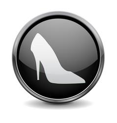Black round 3d button high heel shoe sign vector