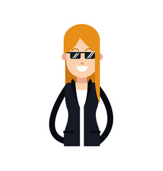 character woman female jacket and sunglasses image vector image
