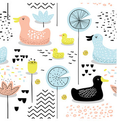 Childish seamless pattern with cute ducks vector