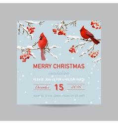 Christmas Invitation Card - Winter Birds vector