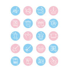 cleaning domestic hygiene icons set domestic vector image