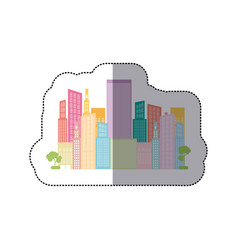 colorful builds with two trees icon vector image