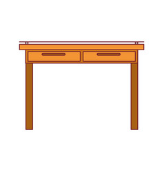 colorful graphic of simple wooden home desk with vector image