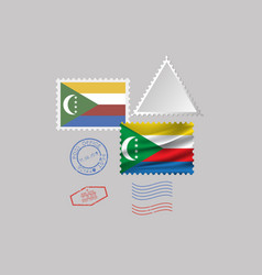 Comoros flag postage stamp set isolated on gray vector