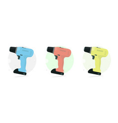 Cordless drill set color power tool vector