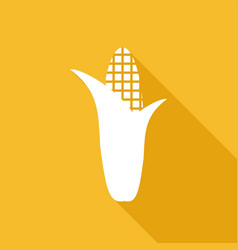 Corn icon with a long shadow vector