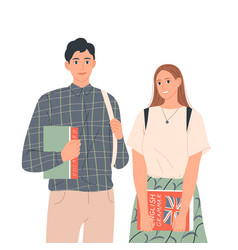 Couple students with books are standing next vector