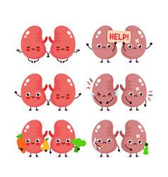 Cute kidneys sethealthy and unhealthy organ vector