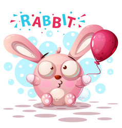 cute rabbit characters - cartoon vector image