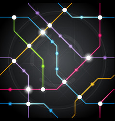 cyber metro scheme railway or city bus map vector image