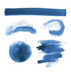 Deep blue watercolor shapes splotches stains vector