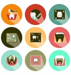 Dental tool icons shadow vector