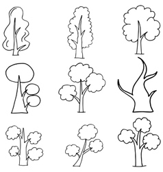 Doodle of tree collection on white backgrounds vector image