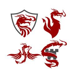 Dragon shield castle logo design mascot template vector