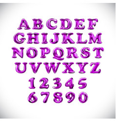 english alphabet and numerals from pink balloons vector image
