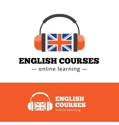 English courses logo concept with british vector