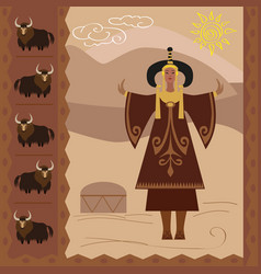 ethnography of the steppe nomads and buddhi vector image