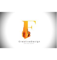 f orange letter design brush paint stroke gold vector image