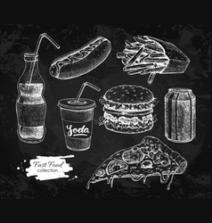 Fast food hand drawn set blackboard junk vector