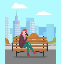Female in city woman speaking phone vector