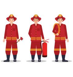 fireman with helmet holding equipment vector image