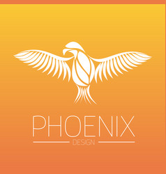 Flaming phoenix bird with wide spread wings in vector