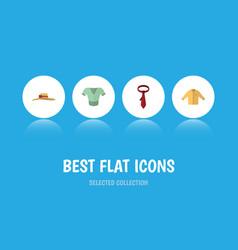Flat icon garment set elegant headgear cravat vector