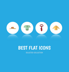 Flat icon garment set of elegant headgear cravat vector