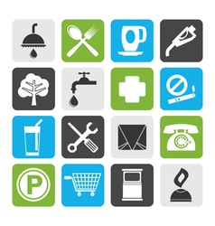 Flat Petrol Station and Travel icons vector image