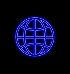 Globe neon sign bright glowing symbol on a black vector