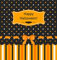 halloween card with bow on polka dots background vector image