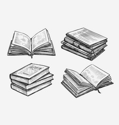 hand drawn books set education concept vintage vector image