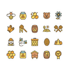 honey sign color thin line icon set vector image
