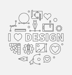 i love design round line symbol or vector image